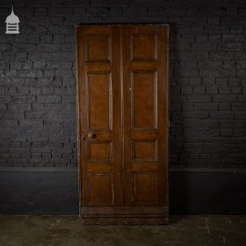 19th C 8 Panel Pine Door with Oak Effect Graining and Original Rim Lock