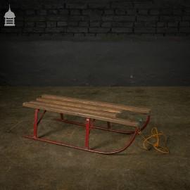 Small 20th C Steel Sledge with Hardwood Slats