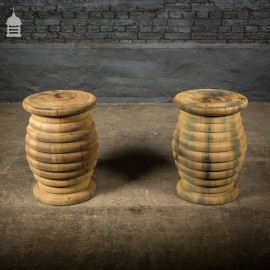 Pair of Reclaimed Iroko Turned Beehive Side Tables