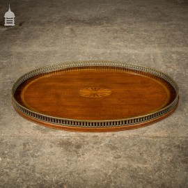 Victorian Inlaid Mahogany Oval Serving Tray with Brass Rail
