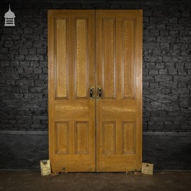 Pair of 19th C Pine Double Doors with Original Brass Mounts and Oak Effect Graining Finish
