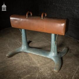 Vintage Leather Gym Pommel Horse on Cast Iron Base