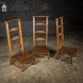 Set of 3 19th C Elm Low Ladder Back Chairs