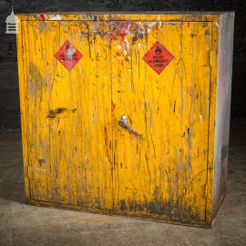 Vintage Industrial Steel Distressed Yellow Painted Workshop Cabinet