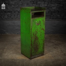 Industrial Distressed Green Painted Steel Cupboard Cabinet