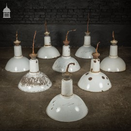 Set of 8 Vintage White Enamelled Pendant Light Shades