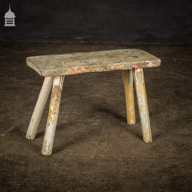 Small 19th C Elm Milking Stool with Distressed Paint Finish