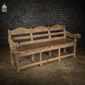 Early 19th C Silvered Teak Anglo Indian Garden Bench with Iron Straps