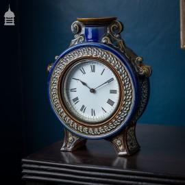 Rare 19th C Blue Glaze Doulton Lambeth Mantle Clock 1882