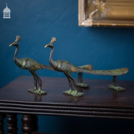 Stunning Pair of 19th C Bronze Peacock Door Handles Pulls