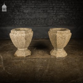 Pair of 1920's Weathered Concrete Urns from Great Yarmouth Venetian Waterways