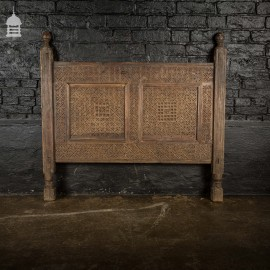 Intricately Carved Detailed 19th C Indian Single Bed Headboard