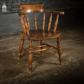 19th C Captain's Bow Seat Smokers Chair with Turned Arm Supports and Double H Stretcher