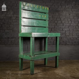 Industrial Green Workbench with Shelf and Numbered Hooks
