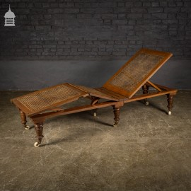 19th C Oak Campaign Reclining Lounger with Cane Seat and Ceramic Casters