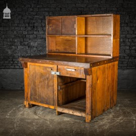Mid Century Industrial Wooden Workbench with Drawer and Shelves