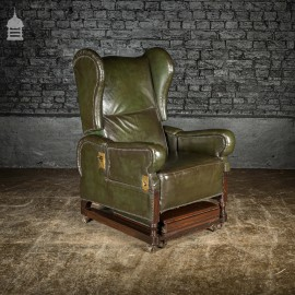 Stunning Mid 19th C Green Leather on Mahogany Frame Reclining Invalids Chair with Retractable Footrest on Castor Wheels