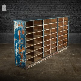 19th C Industrial Pigeon Holes Storage Unit with Distressed Paint Finish