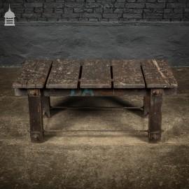Vintage Industrial Workbench Work Trestle Coffee Table