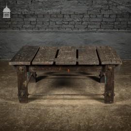 Vintage Industrial Workshop Work Trestle Coffee Table