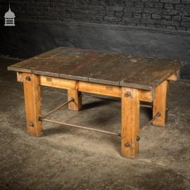 Vintage Industrial Pine Workbench Work Trestle Coffee Table
