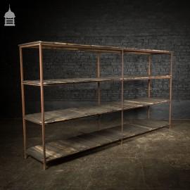 Industrial Steel Frame Shelf Rack with Reclaimed Bog Oak Shelves