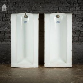 Pair of Urinals by Wilmer & Sons Sanitary Engineers London E.C. with Brass Spreaders