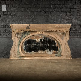 19th C Cast Iron Overmantel Mirror in Original Condition with Distressed Paint