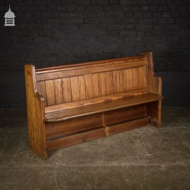 Short Victorian Pitch Pine Pew with Waxed Finish