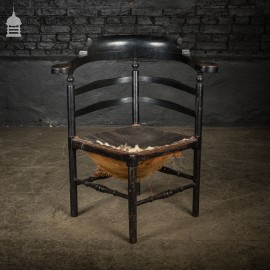 Early 19th C Ebonised Corner Captains Chair Smokers Chair for Restoration