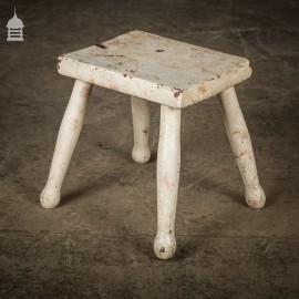 Small 19th C Milking Stool with Distressed White Paint Finish