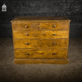 19th C Two Over Three Chest of Drawers with Graining Finish and Key