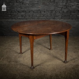 Georgian Round Mahogany Drop Leaf Folding Table with Tapering Legs and Pad Feet