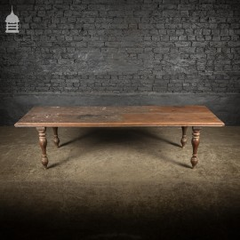 18th C Indian Two Plank Teak Bed Low Table on Turned Legs