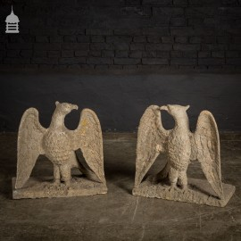 Pair of 18th C Cotswold Stone Eagles Driveway Pier Caps