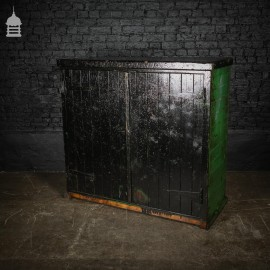 Large Vintage Black Painted Industrial Workshop Cupboard Cabinet with Drawer