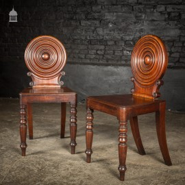 Pair of Small 19 th C Mahogany Hall Chairs with Striking Bullseye Back