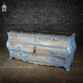 18th C Continental Bombe Commode Chest of Drawers with Distressed Blue Paint