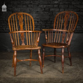 Pair of 19th C Elm and Yew Windsor Chairs