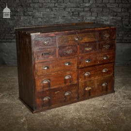 Edwardian Distressed Pine Workshop Bank of Drawers