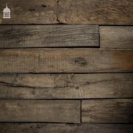 17 Square Metre Batch of Mixed Length & Width Norfolk Broads Bog Oak Wall Cladding Floorboards