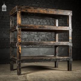 Vintage Wooden Industrial Workshop Shelving Unit