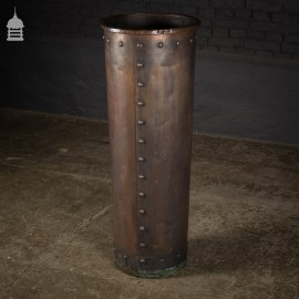 Tall 19th C Cylindrical Riveted Copper Copper