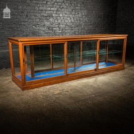 19th C Pitch Pine Mirror Backed Glazed Shop Display Cabinet Counter