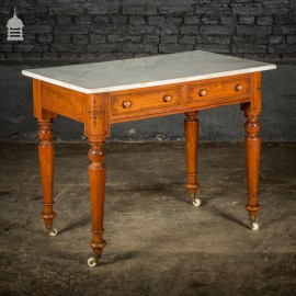 19th C Aesthetic Movement Pine Marble Topped Wash Stand on Ceramic Castors