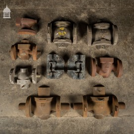 Batch of 10 Metal and Wooden Industrial Factory Foundry Moulds