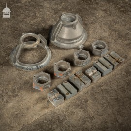 Batch of 12 Metal Industrial Factory Foundry Moulds