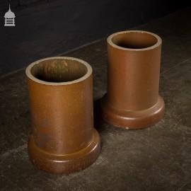 Pair of Salt Glazed Tubes Pipes Planters
