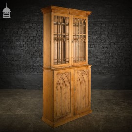 19th C Gothic Pine Cupboard Dresser with Astral Glazed Doors