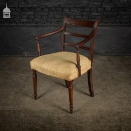 George III Upholstered Mahogany Arm Chair